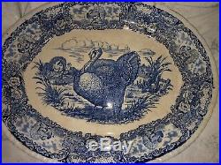 Antique Turkey Oval Serving Platter Blue & White RN Staffordshire England Rare