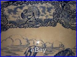 Antique Turkey Oval Serving Platter Blue & White RN Staffordshire England Rare