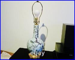 Antique, Vintage Asian Celadon Blue Porcelain Table Lamp Hand Painted