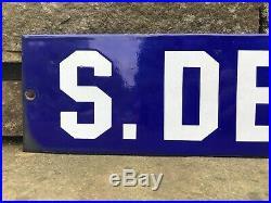 Antique Vtg S. Detroit Porcelain Enamel Street Sign 20 Cobalt Blue White Rare