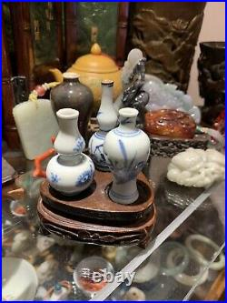 Antique miniature Chinese porcelain blue and white vases Transitional Period