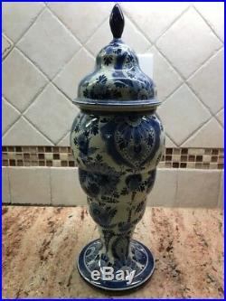 Antiques Stunning Large Blue & White Porcelain Vase Jar Delft Artist Signed