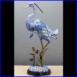 BLUE AND WHITE FIGURAL PORCELAIN AND BRONZE EGRET naturalistic figurine