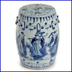 BLUE & WHITE 8 IMMORTALS GARDEN STOOL, Ceramic, End Table Indoor / Outdoor