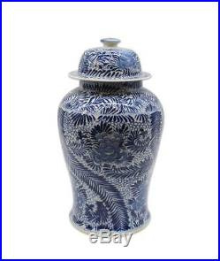 BLUE WHITE BLOOMING FLOWERS Temple Jar, HAND PAINTED, Chinoiserie, Large, 22 H