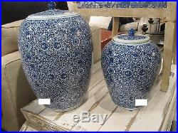 BLUE WHITE CLUSTER FLOWER CHINESE Ginger Jar, HAND PAINTED, Chinoiserie, 14 H