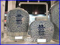 BLUE WHITE FLORAL HAPPINESS CHINESE Ginger Jar, HAND PAINTED, Chinoiserie, 14 H
