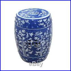 BLUE & WHITE MAGPIE CHINESE GARDEN STOOL, Ceramic, End Table Indoor / Outdoor