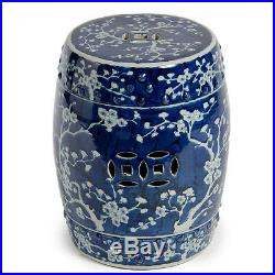 BLUE & WHITE PLUM CHINESE GARDEN STOOL, Ceramic, End Table Indoor / Outdoor