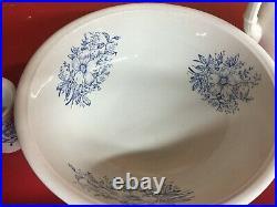 Beautiful Antique White/Blue Pitcher and Wash Basin Bowl Set