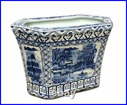 Beautiful Blue and White Blue Willow Hexagon Porcelain Cachepot Planter