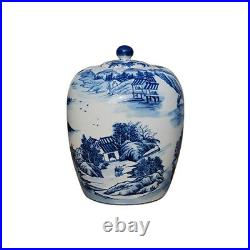 Beautiful Blue and White Blue Willow Motif Porcelain Ginger Jar 15