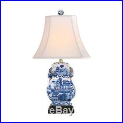 Beautiful Blue and White Blue Willow Porcelain Rectangular Vase Table Lamp 20.5