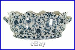 Beautiful Blue and White Chinoiserie Floral Scallop Rim Porcelain Foot Bath 17