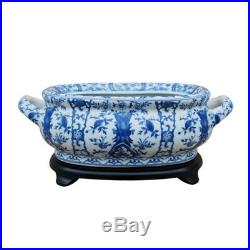 Beautiful Blue and White Chinosierie Floral Porcelain Foot Bath w Stand