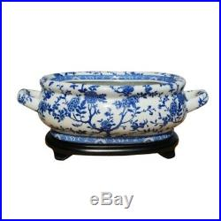 Beautiful Blue and White Floral Porcelain Foot Bath w Stand
