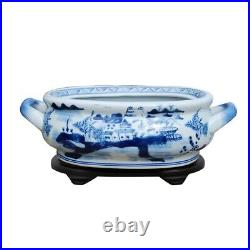 Beautiful Blue and White Landscape Porcelain Foot Bath w Stand