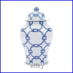 Beautiful Blue and White Love Locks Porcelain Temple Jar 21