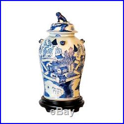 Beautiful Blue and White Porcelain Chinoiserie Blue Willow Temple Jar 19