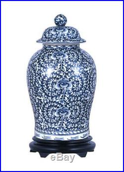 Beautiful Blue and White Porcelain Chinoiserie Temple Jar 19
