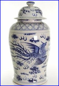 Beautiful Blue and White Porcelain Dragon and Phoenix Temple Jar 18.5