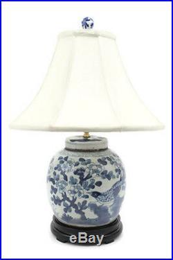 Beautiful Blue and White Porcelain Flat Top Ginger Jar Table Lamp Bird Motif 24