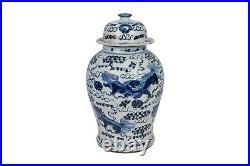 Beautiful Blue and White Porcelain Foo Dog Temple Jar 18.5