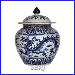 Beautiful Blue and White Porcelain Ginger Jar Dragon Motif 16 with Lid