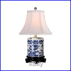Beautiful Blue and White Porcelain Ginger Jar Floral Bird Motif Table Lamp 18