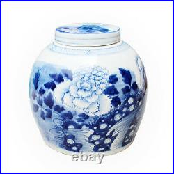Beautiful Blue and White Porcelain Ginger Jar Floral Peony Motif 9 with Lid