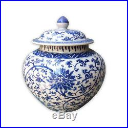 Beautiful Blue and White Porcelain Ginger Jar Twisted Motif 14 with Lid