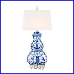 Beautiful Blue and White Porcelain Gourd Table Lamp Chinoiserie Style Art 25