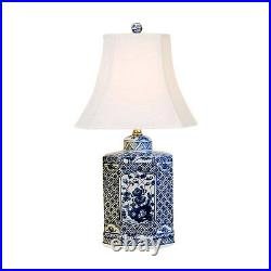 Beautiful Blue and White Porcelain Hexagonal Tea Caddy Table Lamp Floral 20.5
