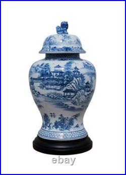 Beautiful Blue and White Porcelain Landscape Blue Willow Temple Jar 15
