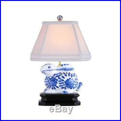 Beautiful Blue and White Porcelain Rabbit Figurine Table Lamp 14.5