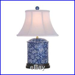 Beautiful Blue and White Porcelain Round Vase Plum Tree Table Lamp 18