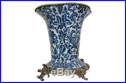 Beautiful Blue and White Porcelain Shaped Flower Pot Brass Ormolu Accents