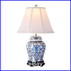 Beautiful Blue and White Porcelain Temple Jar Table Lamp Chinoiserie Floral 29