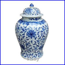 Beautiful Blue and White Porcelain Temple Jar Twisted Lotus Motif 21 Tall