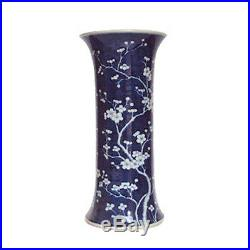 Beautiful Blue and White Porcelain Umbrella Stand Cherry Plum Blossom Motif 23