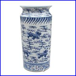 Beautiful Blue and White Porcelain Umbrella Stand Lion and Cloud Motif 23