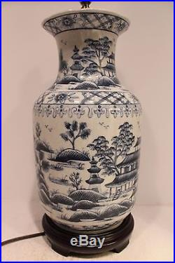 Beautiful Blue and White Porcelain Vase Lamp Table Lamp Blue Willow 33H