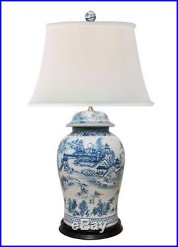 Beautiful Chinese Blue and White Blue Willow Porcelain Temple Jar Table Lamp 35