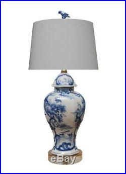 Beautiful Chinese Blue and White Landscape Valley Porcelain Jar Table Lamp 26