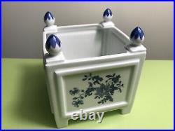 Beautiful French Limoges Square Planter Cachepot Jardiniere Blue Floral Decor
