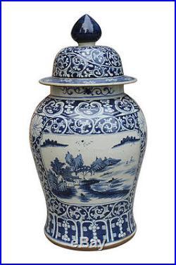 Beautiful Large Blue and White Porcelain Rose Medallion Style Temple Jar 30