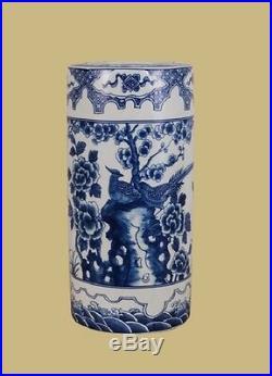 Beautiful Oriental Blue and White Porcelain Umbrella Stand Bird Motif 18