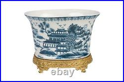Beautiful Oval Blue and White Blue Willow Porcelain Flower Pot Ormolu Base 7.5