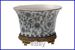 Beautiful Oval Blue and White Chinoiserie Porcelain Flower Pot Ormolu Base 7.5