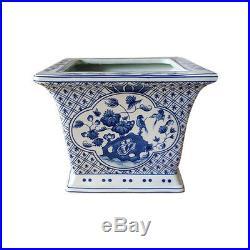 Beautiful Pair Blue and White Floral Bird Motif Square Porcelain Flower Pot 6
